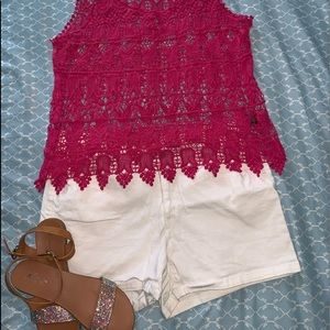 Pink Top and White shorts sz 14